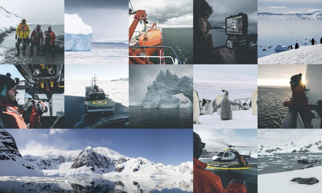 Das Bild zeigt mehrer Aufnahmen aus dem Film Projekt Antarktis